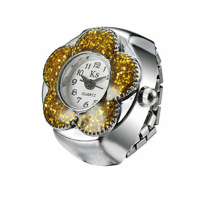 Yellow Bling Floral Bezel Unique Design Steel Finger Ring Watch Quartz Lady Girl
