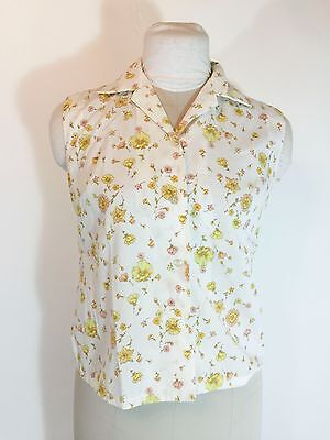 Vintage Yellow Floral Blouse Sleeveless Cotton Flower 1960s