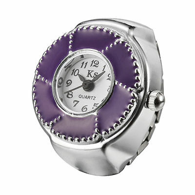 Purple Whirl Silver Steel Case Trendy Elastic Finger Ring Watch Quartz Lady Girl