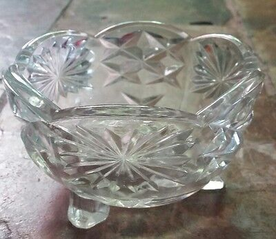 Glass depression bowl dish 3 feet clear art deco jewelry storage vintage
