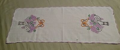"""Vintage Dresser Scarf Runner, Embroidered Baskets of Lilacs Flowers 36"""" by 14"""""""