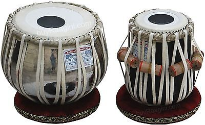 Best Quality Tabla Drum Set, 3.5KG Chromed Copper Bayan, Finest Dayan with Book
