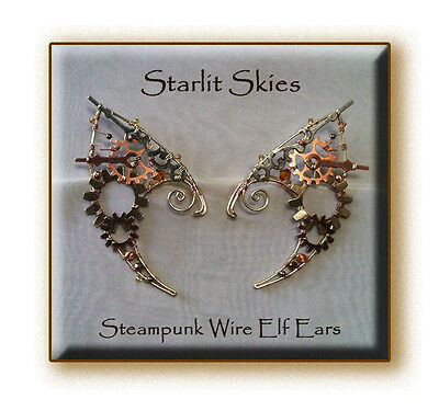 Steampunk Wire Elf Ears, a Pair in Copper Brass andSwarovski Cystals