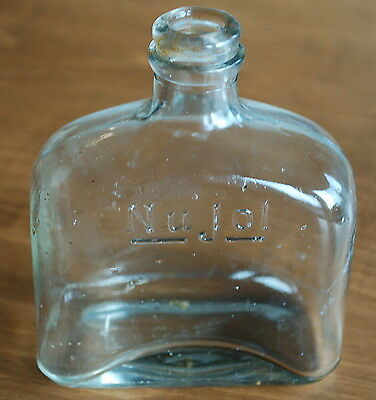 Vintage Clear Glass Nujol Oil Early 1900's Medicine Bottle