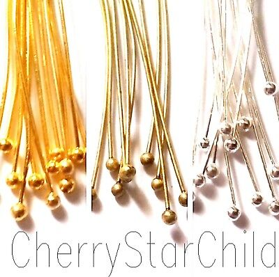 50 x BALL HEAD PINS silver gold bronze findings 25mm-60mm for craft jewellery
