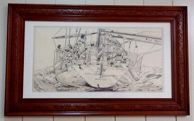"""Pencil Drawing of the Yacht , """" Lion """" , New Zealand , circa 1988 ."""