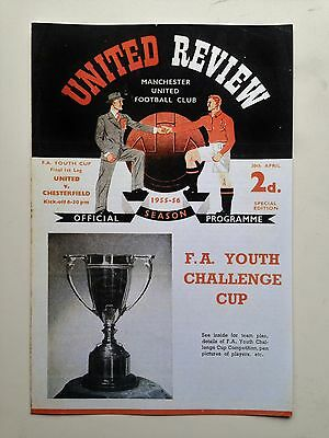 Fa Youth Cup Final Programme 1956 Manchester United V Chesterfield
