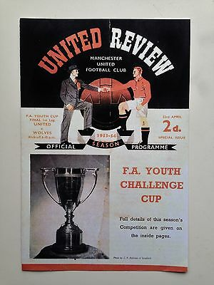 Fa Youth Cup Final Programme 1954 Manchester United V Wolves