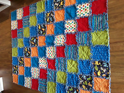 Handmade kids quilt/bed topper/snuggle rug - single bed - raggy style REDUCED