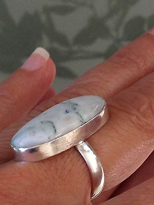 Fantastic Elongated Sterling Silver 925 Marble Agate Stone Ring
