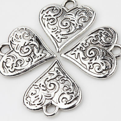 10PCS Tibet Silver Love Heart Charms Pendants Flower Carved Jewelry Findings DIY