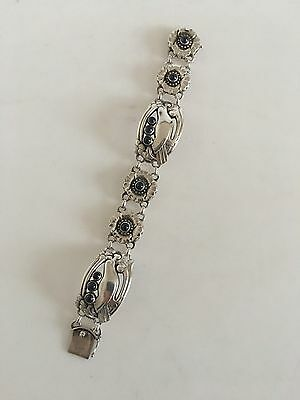 Georg Jensen Sterling Silver Bracelet No 23 with Birds and 10 Synthetic Saphires