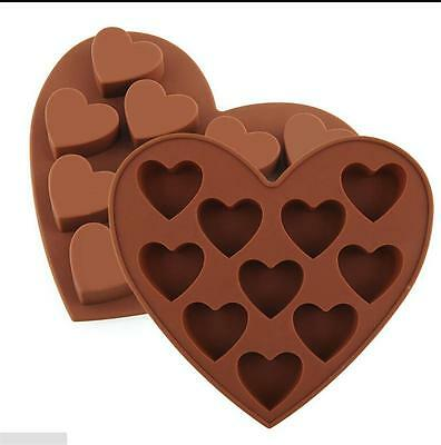 10 Silicone Heart Cake Chocolate Cookie Baking Mould DIY Ice Cube Mold Tray HH