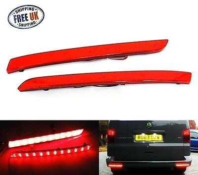 2x VW Red Rear Bumper Reflector LED Tail Stop Brake Light Transporter T5 2012-16