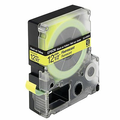 Epson Labelworks 12mm x 9m Black Yellow Fluoresent Tape Cartridge LC-4YBF9 C2BY