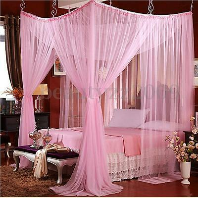 4 Corner Post Bed Canopy Mosquito Net Completo covearge For Queen Size Bedding