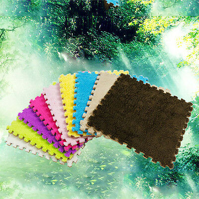 10Pcs/set 30x30cm Puzzle Mat EVA Foam Shaggy Carpet Door Mat Plush Fabric