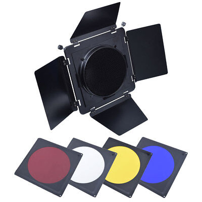 Studio Barn Door w/ Honeycomb Grid Filter fr Elinchrom Mount Standard Reflector