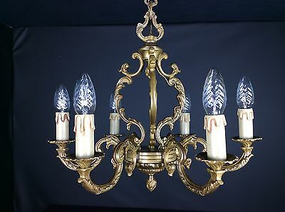 Gorgeous French 6 Arm Heavy Bronze Vintage Caged Chandelier Ceiling Light