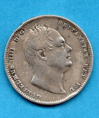 1834 SILVER SIXPENCE COIN. KING WILLIAM IV.   6d.  TANNER.