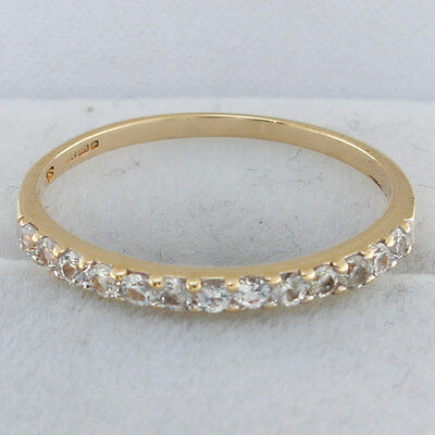 Hallmarked 9ct Gold Cr Diamond Eternity Style Stacking Ring RRP £85 {DE12}