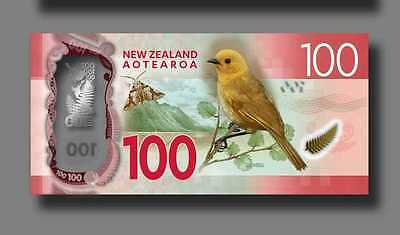 """New Zealand $100 Dollars""GEM UNC 1 Banknote""NewDesign ND2016""ConsecutiveNumber"""
