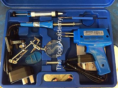 Electrical Soldering Kit Set 30W Iron & 100W Gun Solder Stand Tool & Case