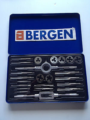 BERGEN 24pc TAP & DIE SET UNC UNF NPT screw bolt thread repair tools in case2546