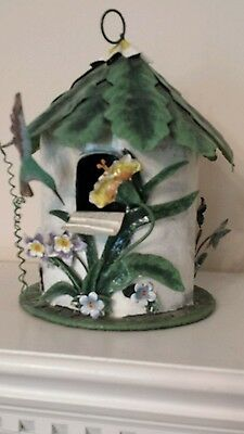Beautiful decorative birdhouse, round, beige with green top, floral decorations