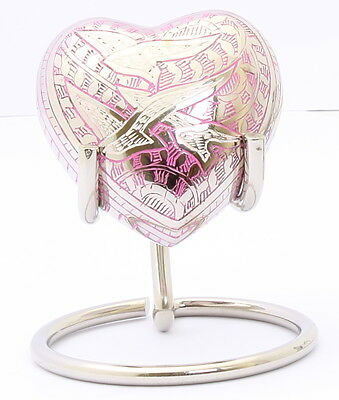 Mini Cremation Urn for Ashes, Funeral Memorial SmallBrass  Heart Pink With Stand