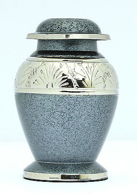 Mini Keepsake Urn For Ashes ,Cremation Funeral Memorial Remembrance Grey Small