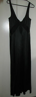 Vintage Black Hilton Nightdress Gown Size 14 Nylon Lace Trim Nightie Sleepwear