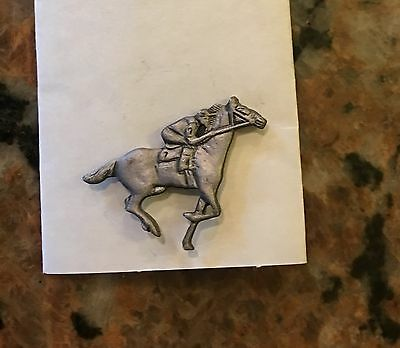Pewter Race Horse And Rider Pin