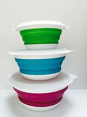 Set of 3 Collapsible Lunch Bowls Space Saving Prep Bowl - Food Storage Tub