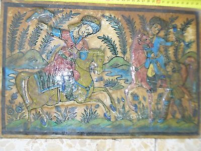 VINTAGE GLAZED CERAMIC TILE 2 RIDING HUNTERS WITH THEIR FALCONEARLY 20th CENTURY