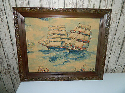 vintage linen fabric picture of ships with frame