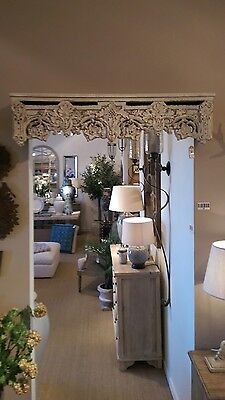 Above door shelf bed canopy crown curtain pelmet floral detail shabby chic