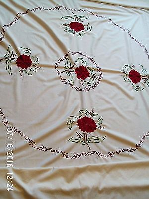 "Large Vintage Rectangular Cream Tablecloth With Red Floral Embroidery 80""x51"""