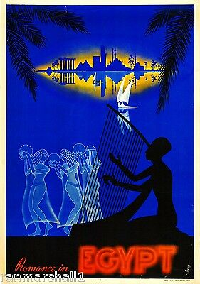 Romance in Egypt Nile River Airplane Vintage Travel Advertisement Art Poster