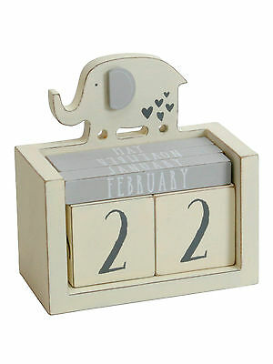 NEW Petit Cheri Elephant Perpetual Calendar Wooden for Nursery Baby's Room