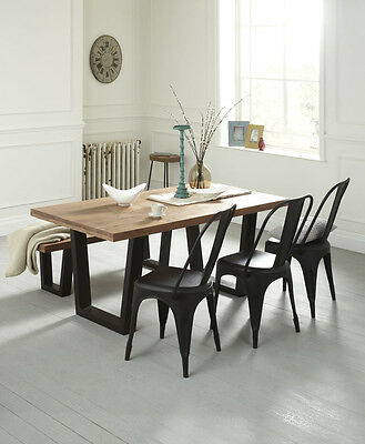 Solid wood Dining table Rustic Industrial Style 160cm