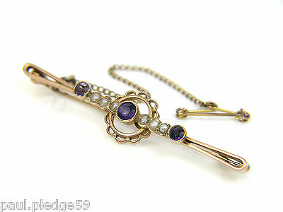 LADIES 9CT 9Carat GOLD PEARL AND AMETHYST BROOCH WITH SAFETY CHAIN - 3.1g