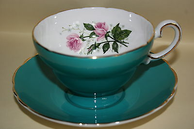 Lovely Vintage Crown Staffordshire china cup saucer set - Teal with pink Roses