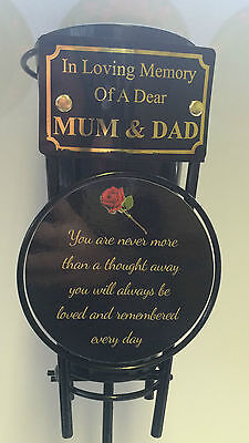 In Loving Memory of a dear MUM AND DAD Grave Vase pot Tribute cemetery flowers
