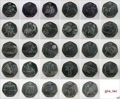 BRITISH 2012 and Rio GB Team OLYMPIC GAMES 50p pence coins