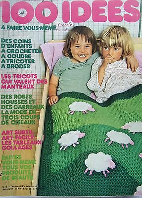 revue  100 IDEES  -tricot couture broderie tissage N°  11 -SEPTEMBRE 1974