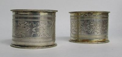 Exquisite Pair Of 1890 Russian 84 Silver Napkin Rings