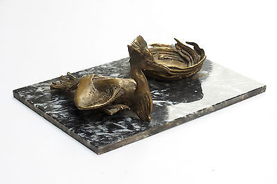 Antique Bronze Bird with Nest Figure Sculpture Ashtray on a Stone marble heron