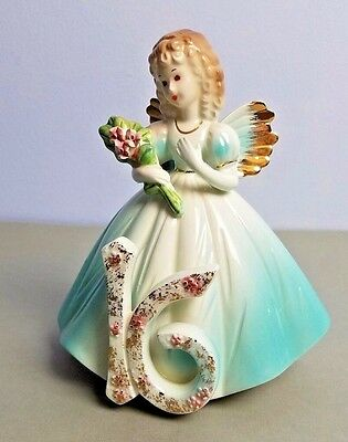 Vintage JOSEF ORIGINALS 16 BIRTHDAY Girl Angel Figurine Holding Bouquet of Roses