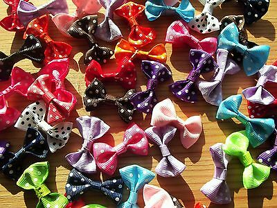 50 Fabric Polka Dot Multi-colour Bows: craft embellishments: Valentine: Wedding